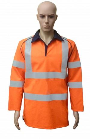 FR-HI-VIS-AS-ARC Orange Rugby Top