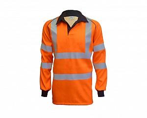 --FRA200HV(R)C-- Flame Resistant, AS, Hi-Vis & Arc Orange Rugby Shirt